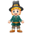 cartoon boy pilgrim vector image