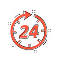 cartoon time icon in comic style 24 hours sign vector image
