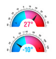celsius and fahrenheit round thermometers vector image vector image