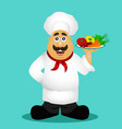 chef cook chef with vegetables vector image