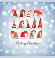 christmas card with christmas hats on glowing vector image vector image