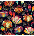 colorful floral seamless pattern plants ornament vector image