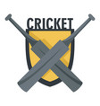 cricket crossed bats logo flat style vector image