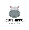 cute hippo flat logo icon vector image