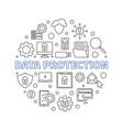 data protection circular concept line vector image