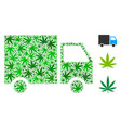 delivery van mosaic of weed leaves vector image vector image