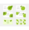 Design Business Cards with Green Apples for vector image vector image