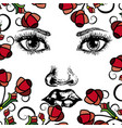 drawing of woman face with flowers vector image vector image