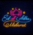 eid mubarak neon signboard vector image vector image