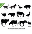 farm animals and birds silhouettes vector image