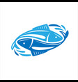 fish logo fresh seafood template design vector image vector image