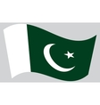 Flag of Pakistan waving on gray background vector image vector image
