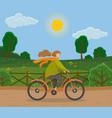girl on bike woman going bicycle vector image vector image