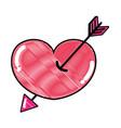 grated arrow design inside heart love icon vector image vector image