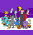 halloween holiday cartoon monster characters group vector image