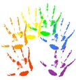 Hand print rainbow colors skin texture pattern vector image vector image