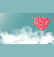 heart balloons in skycard valentine day vector image vector image