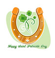 horseshoe and four leaf clover - lucky symbol vector image vector image
