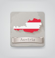 Icon of Austria map with flag vector image
