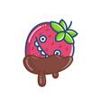 kawaii covered chocolate strawberry icon vector image vector image
