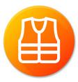 life jacket orange circle icon vector image