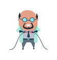 mad professor in lab coat and dark rubber gloves vector image vector image