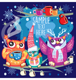 merry christmas card with cute owls vector image vector image