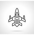 Military aircraft black line design icon vector image vector image