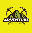 mountain hiking climbing adventure logo emblems vector image vector image