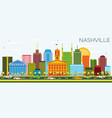 nashville skyline with color buildings and blue vector image vector image