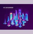 neon city skyscrapers composition vector image