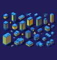 night smart city 3d future neon ultraviolet vector image