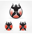 Ninja symbol emblem set vector image