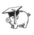 piggy bank in graduation hat vector image