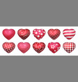 realistic heart shaped balloons 3d red glossy vector image vector image