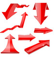 red 3d arrows shiny financial graph icons vector image vector image