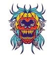 red skull with bloe hair tattoo design vector image vector image