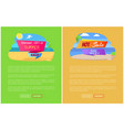 sale for summer journey abroad promo posters set vector image vector image