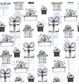 Seamless pattern with handdrawn gift boxes vector image vector image
