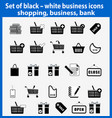 set beautiful black and white business icons vector image vector image
