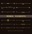 set decorative vintage golden dividers vector image