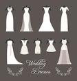 set wedding dresses isolated vector image