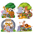 set zoo animals with banner vector image vector image