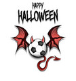soccer ball with horns wings and devil tail vector image vector image