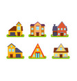suburban residential houses and cottages set vector image vector image