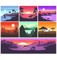 sunset sunrise with hawaii palms vector image