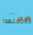 tractor rides on the road in the countryside vector image vector image