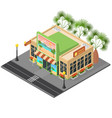 travel agency facade building concept 3d isometric vector image