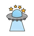 ufo flying stars saucer technology science vector image vector image