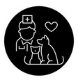 veterinarian with dog and cat black concept vector image vector image